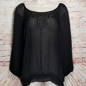 WHBM | Sheer Embroidered Peasant Blouse NWOT
